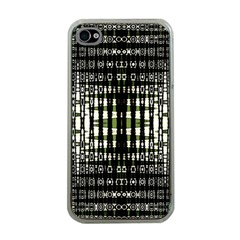 Interwoven Grid Pattern In Green Apple Iphone 4 Case (clear) by Simbadda