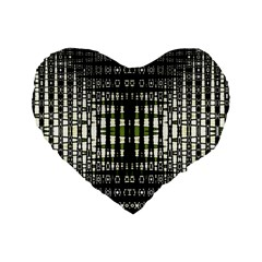 Interwoven Grid Pattern In Green Standard 16  Premium Heart Shape Cushions by Simbadda