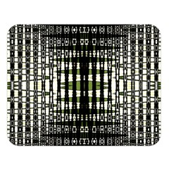 Interwoven Grid Pattern In Green Double Sided Flano Blanket (large)  by Simbadda