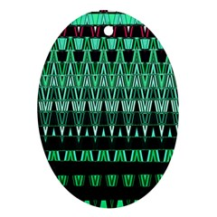 Green Triangle Patterns Ornament (oval) by Simbadda