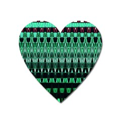 Green Triangle Patterns Heart Magnet by Simbadda