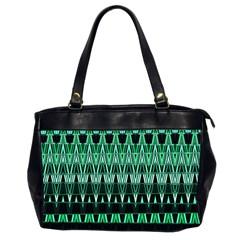 Green Triangle Patterns Office Handbags (2 Sides)  by Simbadda