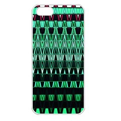 Green Triangle Patterns Apple Iphone 5 Seamless Case (white) by Simbadda