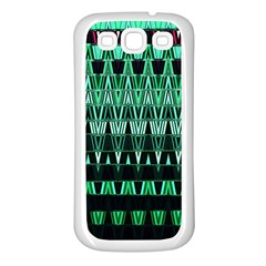 Green Triangle Patterns Samsung Galaxy S3 Back Case (white) by Simbadda