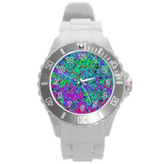 Green Purple Pink Background Round Plastic Sport Watch (l) by Simbadda