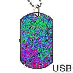 Green Purple Pink Background Dog Tag Usb Flash (two Sides) by Simbadda