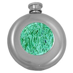 Green Background Pattern Round Hip Flask (5 oz) by Simbadda