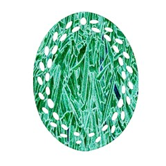 Green Background Pattern Oval Filigree Ornament (two Sides) by Simbadda