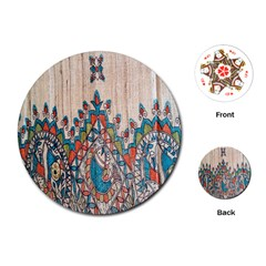 Blue Brown Cloth Design Playing Cards (Round)  by Simbadda
