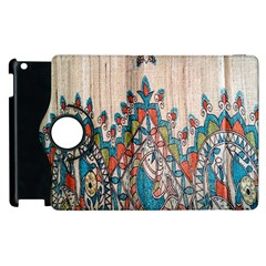 Blue Brown Cloth Design Apple Ipad 2 Flip 360 Case by Simbadda