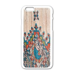Blue Brown Cloth Design Apple Iphone 6/6s White Enamel Case by Simbadda