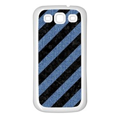 Stripes3 Black Marble & Blue Denim Samsung Galaxy S3 Back Case (white) by trendistuff