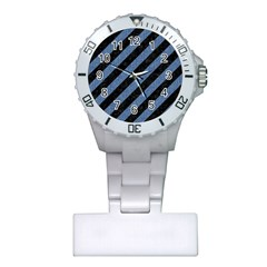 Stripes3 Black Marble & Blue Denim Plastic Nurses Watch by trendistuff
