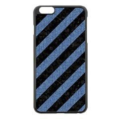 Stripes3 Black Marble & Blue Denim Apple Iphone 6 Plus/6s Plus Black Enamel Case