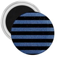 Stripes2 Black Marble & Blue Denim 3  Magnet by trendistuff