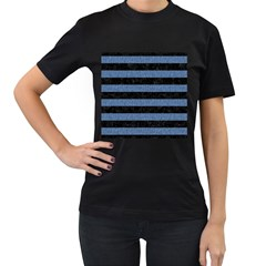 Stripes2 Black Marble & Blue Denim Women s T Shirt (black) by trendistuff