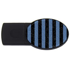 Stripes1 Black Marble & Blue Denim Usb Flash Drive Oval (2 Gb) by trendistuff