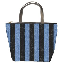 Stripes1 Black Marble & Blue Denim Bucket Bag by trendistuff
