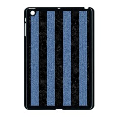Stripes1 Black Marble & Blue Denim Apple Ipad Mini Case (black) by trendistuff