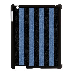 Stripes1 Black Marble & Blue Denim Apple Ipad 3/4 Case (black) by trendistuff