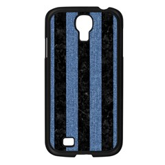 Stripes1 Black Marble & Blue Denim Samsung Galaxy S4 I9500/ I9505 Case (black) by trendistuff