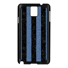 Stripes1 Black Marble & Blue Denim Samsung Galaxy Note 3 N9005 Case (black) by trendistuff