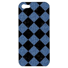 Square2 Black Marble & Blue Denim Apple Iphone 5 Hardshell Case by trendistuff