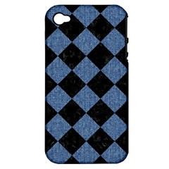 Square2 Black Marble & Blue Denim Apple Iphone 4/4s Hardshell Case (pc+silicone) by trendistuff