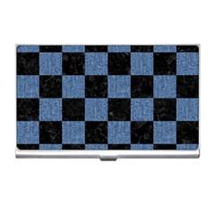 Square1 Black Marble & Blue Denim Business Card Holder by trendistuff