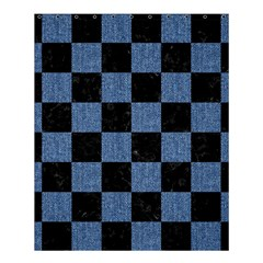 Square1 Black Marble & Blue Denim Shower Curtain 60  X 72  (medium) by trendistuff