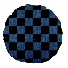 Square1 Black Marble & Blue Denim Large 18  Premium Round Cushion  by trendistuff