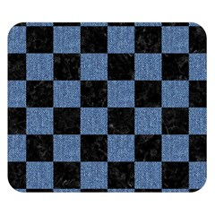 Square1 Black Marble & Blue Denim Double Sided Flano Blanket (small) by trendistuff