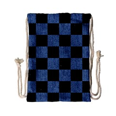 Square1 Black Marble & Blue Denim Drawstring Bag (small) by trendistuff
