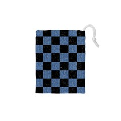 Square1 Black Marble & Blue Denim Drawstring Pouch (xs) by trendistuff