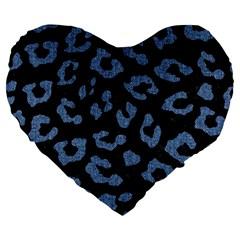 Skin5 Black Marble & Blue Denim (r) Large 19  Premium Flano Heart Shape Cushion by trendistuff