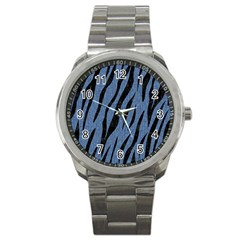 Skin3 Black Marble & Blue Denim (r) Sport Metal Watch by trendistuff
