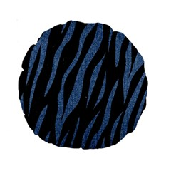 Skin3 Black Marble & Blue Denim Standard 15  Premium Round Cushion  by trendistuff