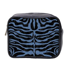 Skin2 Black Marble & Blue Denim Mini Toiletries Bag (two Sides) by trendistuff