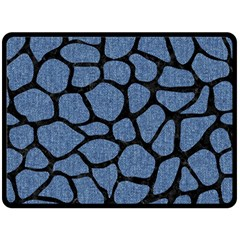 Skin1 Black Marble & Blue Denim Fleece Blanket (large) by trendistuff