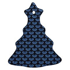 Scales3 Black Marble & Blue Denim (r) Christmas Tree Ornament (two Sides) by trendistuff