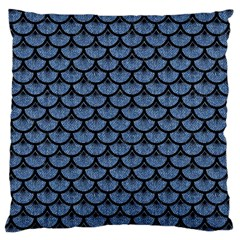 Scales3 Black Marble & Blue Denim (r) Large Cushion Case (two Sides) by trendistuff