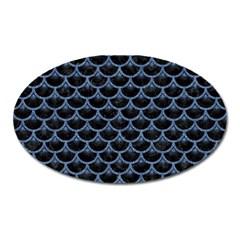 Scales3 Black Marble & Blue Denim Magnet (oval) by trendistuff