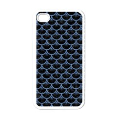 Scales3 Black Marble & Blue Denim Apple Iphone 4 Case (white) by trendistuff