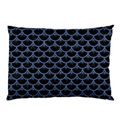 Scales3 Black Marble & Blue Denim Pillow Case (two Sides) by trendistuff