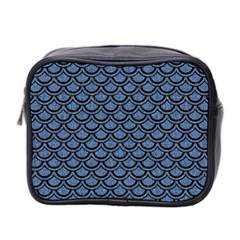 Scales2 Black Marble & Blue Denim (r) Mini Toiletries Bag (two Sides) by trendistuff