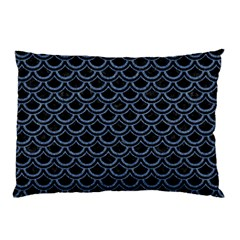 Scales2 Black Marble & Blue Denim Pillow Case (two Sides) by trendistuff