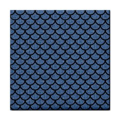 Scales1 Black Marble & Blue Denim (r) Tile Coaster by trendistuff