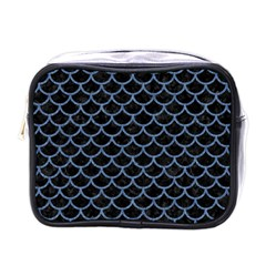 Scales1 Black Marble & Blue Denim Mini Toiletries Bag (one Side) by trendistuff