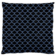 Scales1 Black Marble & Blue Denim Standard Flano Cushion Case (two Sides) by trendistuff