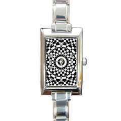 Checkered Black White Tile Mosaic Pattern Rectangle Italian Charm Watch by CrypticFragmentsColors
